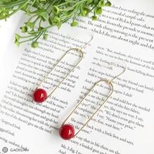 杨紫明星同款韩国几何时尚红色珠子耳环简约个性高档防过敏耳饰品