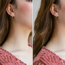 一件代发日韩风樱花耳环防过敏时尚简约超闪锆石耳钉耳坠