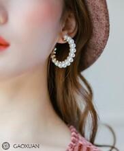 一件代发欧美大牌夸张圆圈耳环韩国气质百搭珍珠耳钉流行耳饰图片