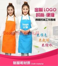 长沙广告围裙无袖长袖围裙厨房围裙促销赠品围裙店员围裙定制logo印字图片