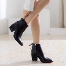 壹磅壹切尔西靴真皮马丁靴女英伦风短靴女秋冬单靴裸靴高跟女靴053A图片