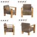 西安星巴克咖啡厅休闲实木布艺沙发椅设计定做