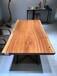 烘干实木乌金木大板办公桌茶桌书桌-含脚架