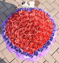 西安520情人节99朵蓝色妖姬仿真玫瑰小熊卡通花束创意生日送女友图片
