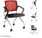 培多思移动会议椅网布人工体学办公椅弓形电脑椅塑钢培训椅子折叠会议椅厂家