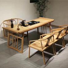 天津厂家直销新中式简约茶桌老榆木实木免漆家具茶台功夫茶艺桌椅组合