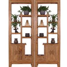 上海老榆木免漆家具实木博古架多宝阁茶叶架古董架展示架玄关柜隔断架