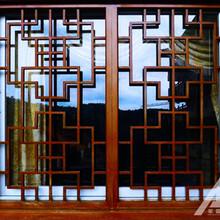 中式仿古木纹铝窗花厂家图片