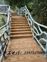 深圳东莞塑石假山施工木纹栏杆施工树藤栏杆施工
