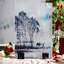 河北夹丝玻璃厂家定做夹绢夹画夹纱夹胶艺术装饰玻璃选郑州誉华召创图片