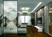 藝術夾絲玻璃屏風隔斷客廳背景墻鞋柜玄光立體彩繪磨砂透光鋼化