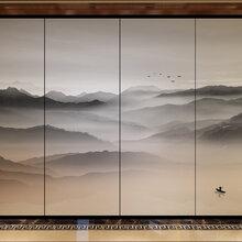 供应夹丝玻璃/水墨山水画玻璃/移门隔断/背景墙图片