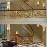 河南安装实心铝板艺术雕刻玫瑰金楼梯扶手现场效果图