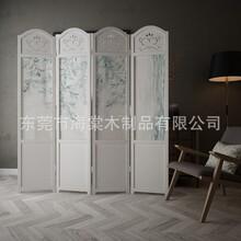 美式北欧式屏风实木隔断装饰时尚客厅卧室入户玄关布艺折叠折屏图片