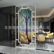 歐式實木屏風玄關隔斷裝飾客廳書房辦公酒店風水移動鏤空座屏圖片