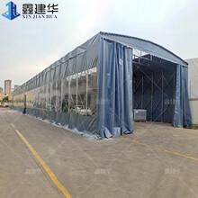 无锡钢架伸缩雨棚尺寸定做,膜结构推拉棚图片