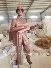 港粤雕塑厂新款上新玻璃钢音乐人物雕塑仿红铜效果图片