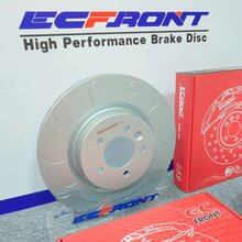大众高尔夫R原厂制动升级ECFRONT英国高碳耐磨刹车碟原装位安装图片