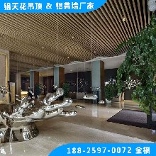 健身房吊顶铝方通木纹铝格栅木纹U型铝方通图片