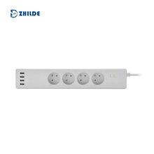厂家私模供应法规智能排插4AC4usb,5V/6.0A大电流设计法规智能插线板图片