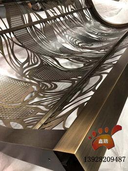 青古铜弧形不锈钢花格屏风厂家定制