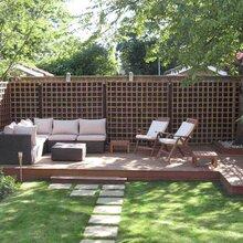 屋顶空中花园的防水防晒户外装饰木塑材料与绿色植物搭配更美