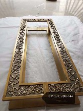 黄古铜铝板浮雕花纹拉手,售楼部大门拉手,佛山拉手厂优游注册平台图片
