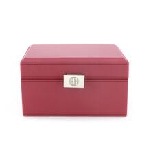 红色精致带镜首饰盒首饰盒皮盒包装厂家实力定制图片
