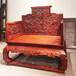 仙游定制赞比亚血檀家具厂烫蜡宝座中式实木浮雕宝座沙发清式雕龙太师椅