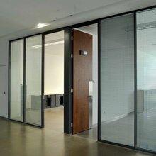 磨砂,透明钢化玻璃隔断,办公隔墙图片