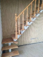 钢木楼梯实木楼梯护栏全国发货图片