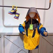 福建知名品牌童装批发,太阳石三合一少年儿童冲锋衣19年冬季新款保暖连帽外套走份批发图片