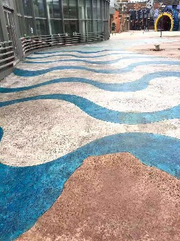 詠彩興邦洗砂面藝術地坪,安陽殷都區彩色聚合物礫石洗砂面地坪廠家