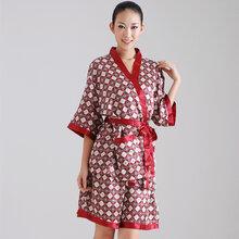 廠家直銷經典老方格棉絨緞桑拿和服技師工作服款男女更衣圖片