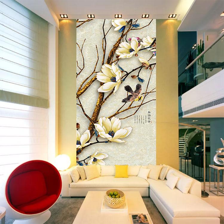 福建生产鸟语花香玄关背景墙3d墙纸走廊过道定制壁画现代简约中式壁纸墙布电视背景墙图片