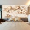 珠宝珍珠花朵3d立体定制壁画蝴蝶天鹅浮雕客厅电视背景墙纸墙布