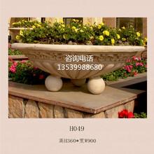 簡約歐式花盆人造石花缽別墅地產景觀種植砂巖花缽花容器擺件圖片