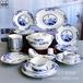 唐山瓷亿美批发陶瓷餐具家用56头骨瓷碗盘碟青花酒店实用礼品套装定制LOGO
