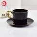 唐山唯奧陶瓷廠家黑色金邊陶瓷咖啡杯碟套裝歐式咖啡杯碟英式下午茶杯