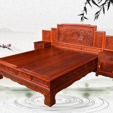 缅甸花梨双人床拒绝劣质王义红木花梨木家具