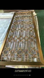 黄古铜铝板雕花中式屏风铝艺雕刻镂空中式古铜花格图片2