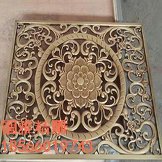 黄古铜铝板雕花中式屏风铝艺雕刻镂空中式古铜花格图片1
