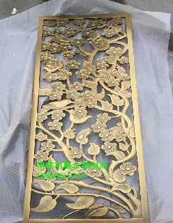黄古铜铝板雕花中式屏风铝艺雕刻镂空中式古铜花格图片3
