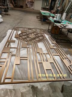黄古铜铝板雕花中式屏风铝艺雕刻镂空中式古铜花格图片4