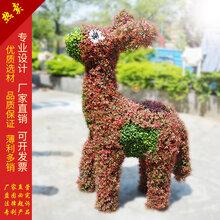 仿真绿雕毛驴造型拉车户外摆件毛驴雕塑假毛驴拉车五色草雕造型