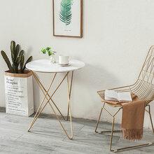 北欧大理石茶几现代简约沙发边几角几铁艺小圆桌创意金色洽谈桌子