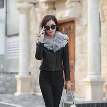 皮衣女修身加棉加厚外套短款時尚套裝2019新款秋冬機車PU皮夾克潮圖片