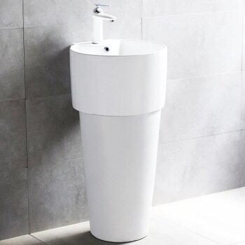 酒店一體式洗手盆衛生間新款陶瓷立柱盆一體陶瓷立柱盆式