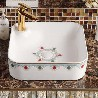 卫浴洗漱盆彩金陶瓷台上盆欧式家装洗手盆方型一体式无孔彩金洗手洗脸盆