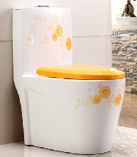 家用彩色马桶卫生间手绘彩色马桶连体陶瓷高温座便器马桶图片
